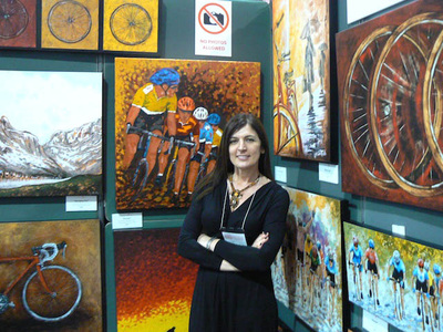 Luigia Zilli at Toronto Bicycle Show exhibiting her cycling prints. Photo © by Peter Kraiker